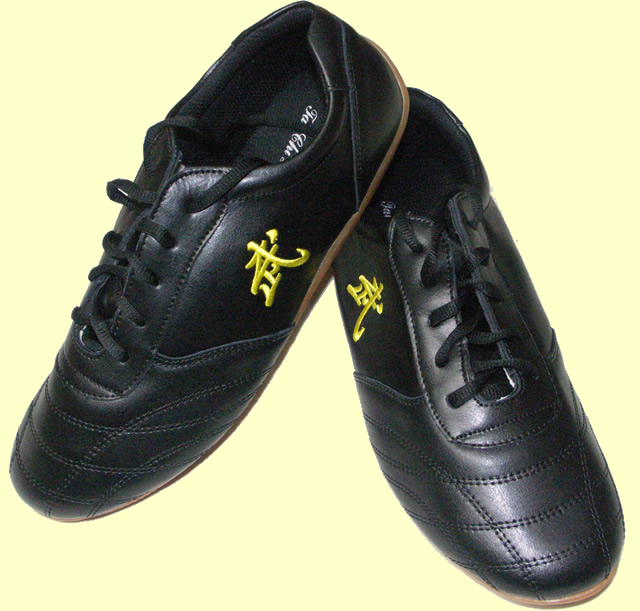 "Black ""Wu"" Leather Shoes"