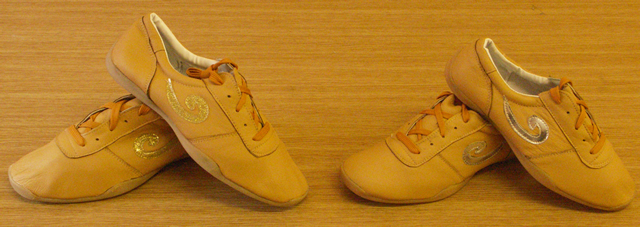 "Orange ""Swirl"" Leather Shoes - Gold Swirl"