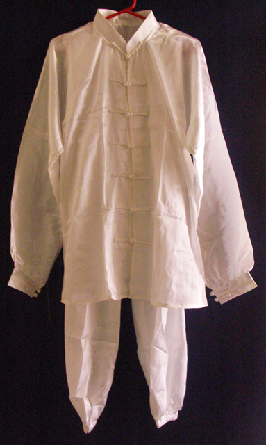 White Simulated Silk Suit